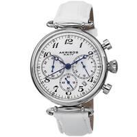 Akribos XXIV Women's Chronograph Leather Silver-Tone Strap Watch