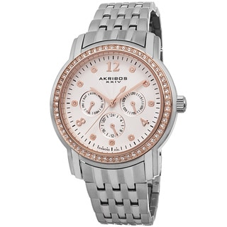 Akribos XXIV Women's Multifunction Diamond-Dial Stainless Steel Silver-Tone Bracelet Watch