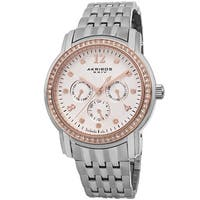 Akribos XXIV Women's Multifunction Diamond-Dial Stainless Steel Silver-Tone Bracelet Watch