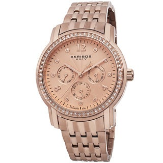 Akribos XXIV Women's Multifunction Diamond-Dial Stainless Steel Rose-Tone Bracelet Watch