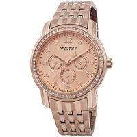509e37d0c8db Akribos XXIV Women s Multifunction Diamond-Dial Stainless Steel Rose-Tone  Bracelet Watch