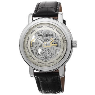 Akribos XXIV Men's Automatic Movement Skeleton Dial Leather Silver-Tone Strap Watch with FREE GIFT