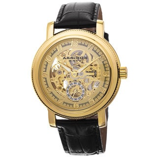 Akribos XXIV Men's Automatic Movement Skeleton Dial Leather Gold-Tone Strap Watch