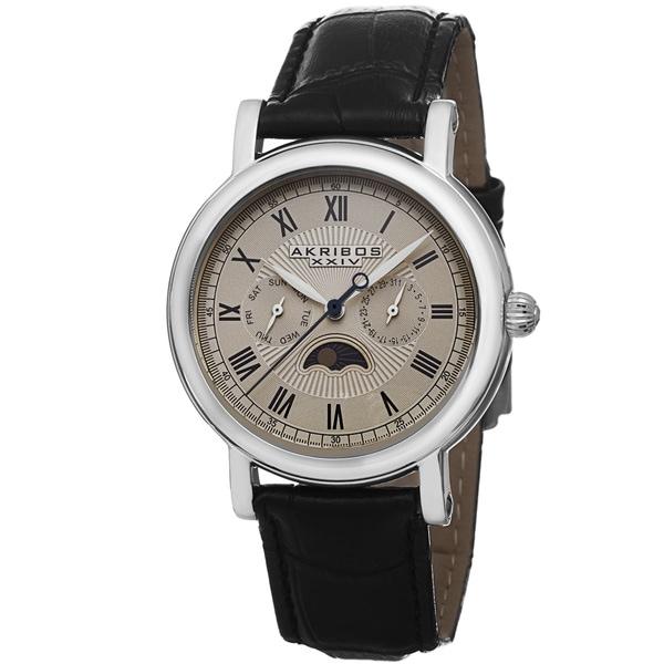 Akribos XXIV Men's Quartz Multifunction Leather Silver-Tone Strap Watch