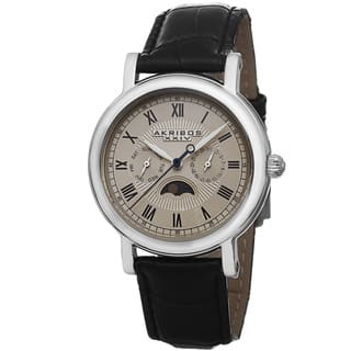 Akribos XXIV Men's Quartz Multifunction Leather Silver-Tone Strap Watch with FREE GIFT (Option: Beige)|https://ak1.ostkcdn.com/images/products/8843584/Akribos-XXIV-Mens-Quartz-Multifunction-Leather-Strap-Watch-P16073382.jpg?impolicy=medium