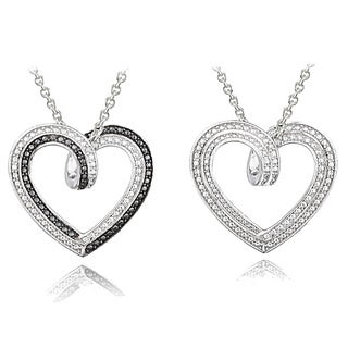 Black and White Diamond Accent Reversible Heart Necklace