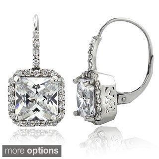 Icz Stonez 6 1/2ct TGW Cubic Zirconia Square Leverback Earrings