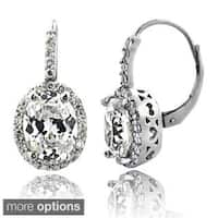Icz Stonez 4ct Cubic Zirconia Oval Halo Leverback Earrings