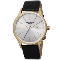 Akribos XXIV Classic Men's Sunray Dial Leather Gold-Tone Strap Watch