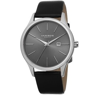 Akribos XXIV Classic Men's Sunray Dial Leather Silver-Tone Strap Watch