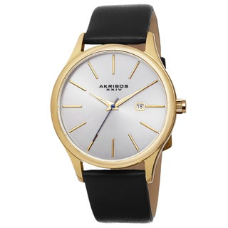 Akribos XXIV Classic Men's Sunray Dial Watch with Leather Strap (Option: black & gold-tone)