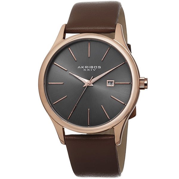 Akribos XXIV Classic Men's Sunray Dial Watch with Leather Strap. Opens flyout.