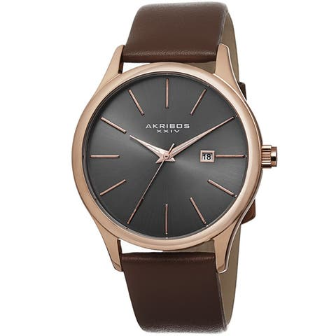 Akribos XXIV Classic Men's Sunray Dial Watch with Leather Strap