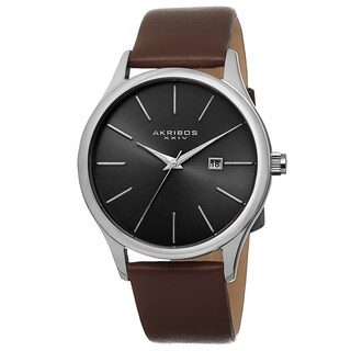 Akribos XXIV Classic Men's Sunray Dial Watch with Leather Strap (Option: brown & silver-tone)