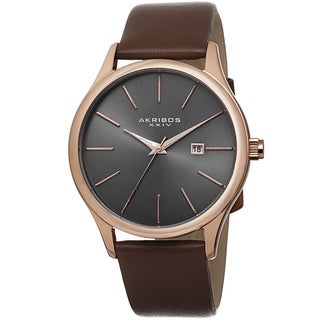 Akribos XXIV Classic Men's Sunray Gunmetal Dial Leather Rose-Tone Strap Watch