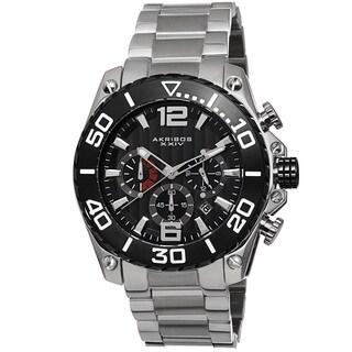 Akribos XXIV Men's Date Chronograph Stainless Steel Black Bracelet Watch
