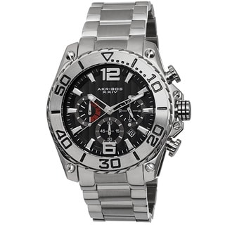 Akribos XXIV Men's Date Chronograph Stainless Steel Silver-Tone Bracelet Watch