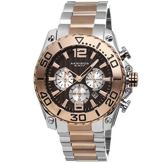 Akribos XXIV Men's Date Chronograph Stainless Steel Two-Tone Bracelet Watch