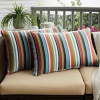 Multicolor Stripe Corded 12 x 24 inch Indoor/ Outdoor Lumbar Pillows with Sunbrella Fabric (Set of 2