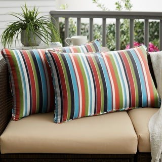 Multicolor Stripe Corded 12 X 24 Inch Indoor/ Outdoor Lumbar Pillows With  Sunbrella Fabric (