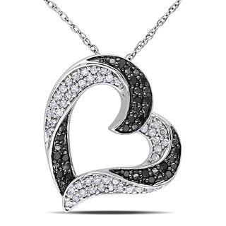 Miadora 10k White Gold 1/3ct TDW Black and White Diamond Heart Necklace