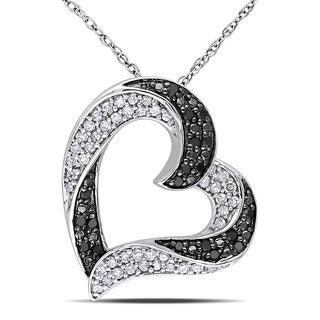 Miadora 10k White Gold 1/3ct TDW Black and White Diamond Heart Necklace