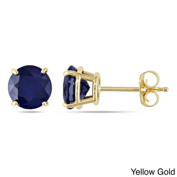 Miadora 10k Gold 2 1/10ct TGW Sapphire Solitaire Earrings