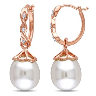 Miadora 10k Rose Gold Cultured Freshwater Pearl and Diamond Accent Dangle Earrings (9-9.5 mm)