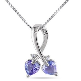 Miadora Sterling Silver Tanzanite and Diamond Accent Heart Necklace