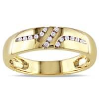 Miadora 10k Yellow Gold Men's 1/10ct TDW Diamond Wedding Band Ring