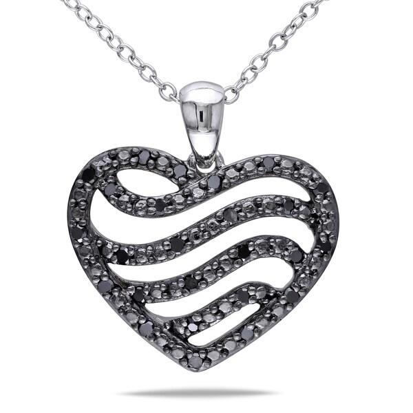 Miadora Sterling Silver 1/4ct TDW Black Diamond Heart Necklace