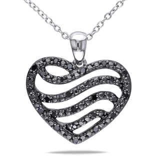Miadora Sterling Silver 1/4ct TDW Black Diamond Heart Necklace