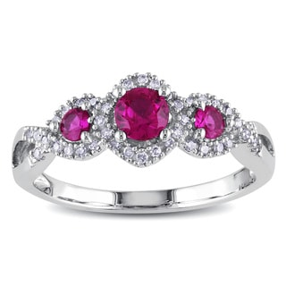 Miadora 10k White Gold Created Ruby and 1/8ct TDW Diamond Ring (H-I, I2-I3)