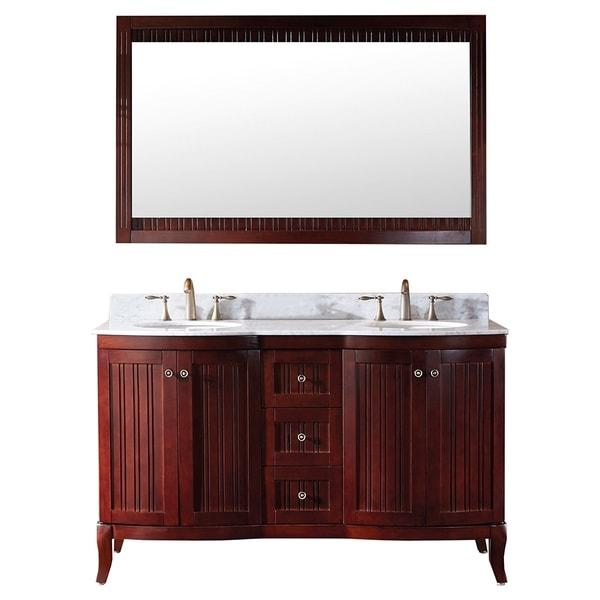 Antiqued Marble Countertops: Shop Virtu USA Khaleesi 60-inch Antique Cherry Vanity With