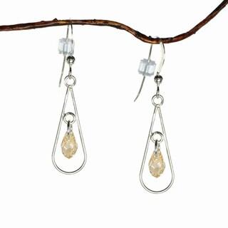 Jewelry by Dawn Sterling Silver Open Teardrop Golden Shadow Crystal Earrings