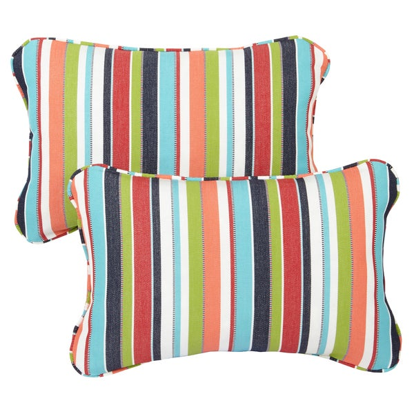 Shop Multicolor Stripe Corded 13 x 20 inch Indoor/ Outdoor Pillows ...
