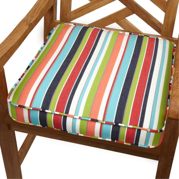 Superieur Multicolor Stripe Indoor/ Outdoor 19 Inch Chair Cushion With Sunbrella  Fabric