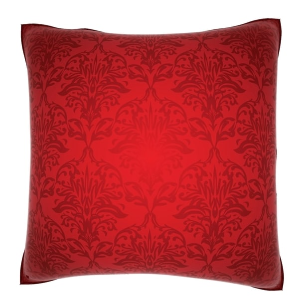 Red Damask 18 Inch Velour Throw Pillow