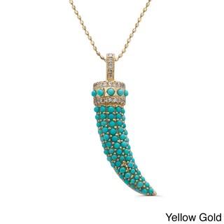 14k Gold 1/8ct TDW White Diamond and Turquoise Horn Pendant (J-K, I2-I3)