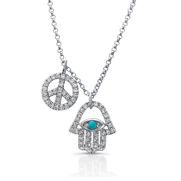 5870d0666c1 Victoria Kay 14k White Gold 1/3ct TDW Diamond Hamsa and Peace Sign Charm  Necklace