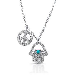 Victoria Kay 14k White Gold 1/3ct TDW Diamond Hamsa and Peace Sign Charm Necklace (J-K, I2-I3)