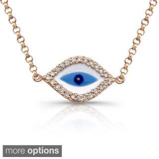 Victoria Kay 14k Gold 1/10ct TDW Diamond Evil Eye Necklace (J-K, I2-I3)