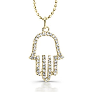 Victoria Kay 14k Yellow Gold 1/6ct TDW White Diamond Hamsa Pendant (J-K, I2-I3)