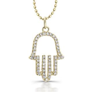 Victoria Kay 14k Yellow Gold 1/6ct TDW White Diamond Hamsa Pendant (J-K, I2-I3)
