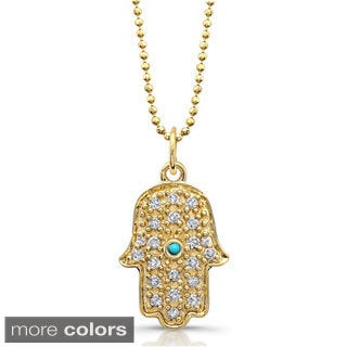 Victoria Kay 14k Gold 1/8ct TDW Diamond Pave Hamsa Charm Pendant with Turquoise Accent (J-K, I2-I3)