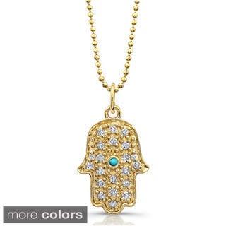 Victoria Kay 14k Gold 1/8ct TDW Diamond Pave Hamsa Charm Pendant with Turquoise Accent (J-K, I2-I3)