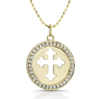 14k Yellow Gold 1/6ct TDW Diamond Framed Cross Disk Necklace (I-J, I1-I2)