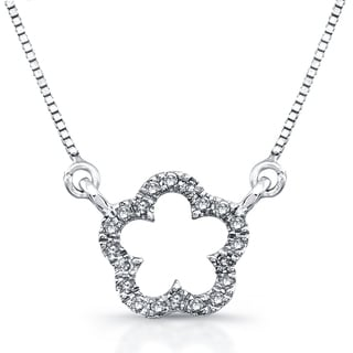 Victoria Kay 14k White Gold 1/10ct TDW Diamond Flower Mini Pendant (J-K, I2-I3)