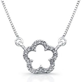 Victoria Kay 14k White Gold 1/10ct TDW Diamond Flower Mini Pendant (J-K, I2-I3)