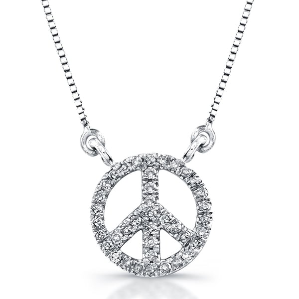 c7b2785aceaec Victoria Kay 14k White Gold 1 8ct TDW Diamond Mini Peace Sign Necklace (J-K